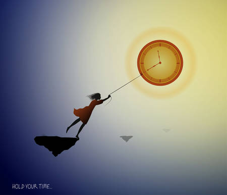 concept of the best time memories, girl silhouette holding the clock like sun on the heavens sky, vector Archivio Fotografico - 146004295