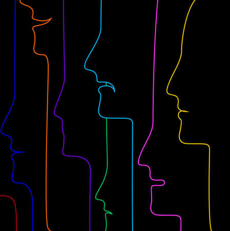 RGBpeople profiles in many color, people creative concept, crowd concept, color of inner emotions, vector