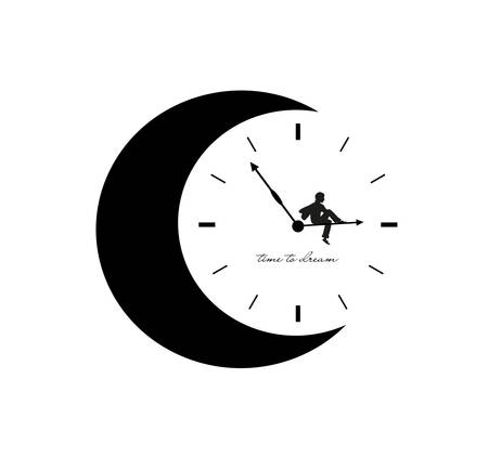 concept of time to dream, young boy is sitting on the moon clock hands, time to dream simple creative idea, Ilustração