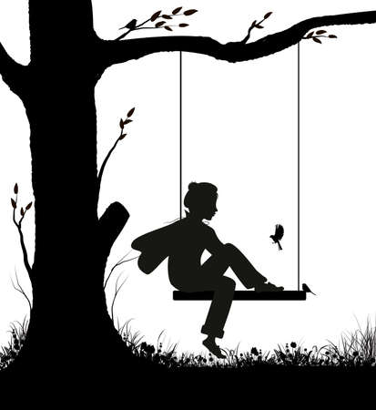 Childhood memories, boy sitting on the swing and looking at the titmouse birds, dreamy park scene in black and white, shadow story,
