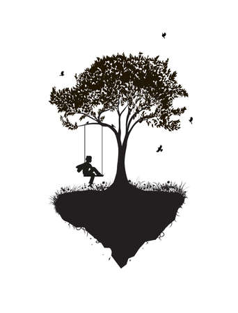 Childhood memories, piece of childhood, boy on swing, park fantasy scene in black and white, tree on flying rock, silhouette Ilustração