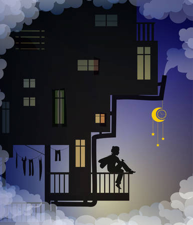 dreaming boy is sitting on the balcony above the clouds, fairy characters, house of kids night fantasy, life on heavens story, shadows, vector
