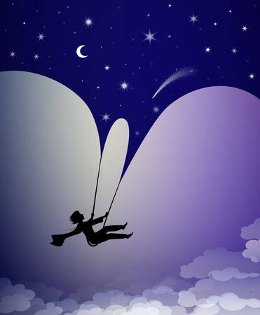 concept of childhood night dream at midnight, boy silhouette on the swing flying under the night sky, shadow story, 矢量图像