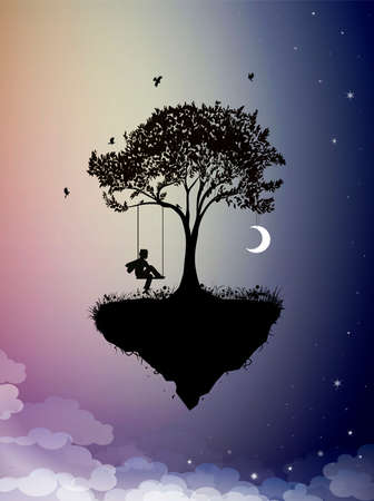 Childhood memories, piece of childhood on the fairy sky, boy on swing, silhouette scene in the dreamland, vector 矢量图像