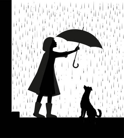 Rain walk with dog, girl holding the umbrella above the dog, my friend dog, black and white, shadow, vector