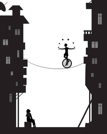 boy juggles balls with unicycle on the rope in the city houses, dreams vector
