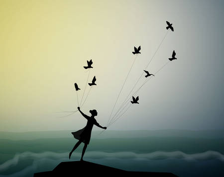 girl silhouette is flying and holding pigeons above the storm waves, marine storm landscape, fly in the dream, shadows, vector