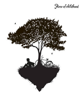 Childhood memories, piece of childhood, boy sitting under the tree with bicycle, park fantasy scene in black and white, tree on flying rock, silhouette
