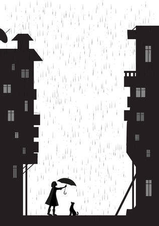 Rain walk with dog in empty city, girl holding the umbrella above the dog, my friend dog, black and white, shadow, vector