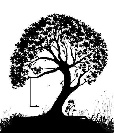swing on tree, childhood memories in summer day, piece of childhood, black and white, shadows Ilustração