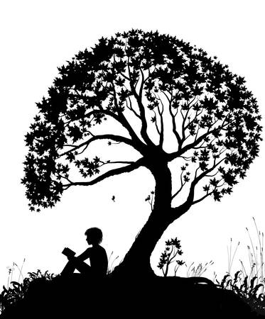 best place to read concept, boy reading under the big tree, park scene in black and white
