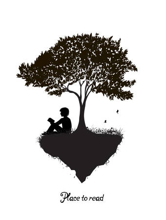 best place to read concept, boy reading under the big tree, park scene in black and white, childhood memories, shadow story, 스톡 콘텐츠 - 149085459