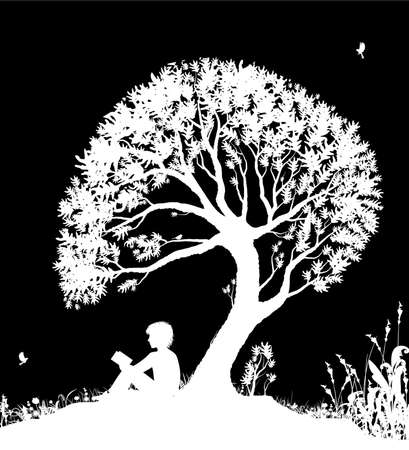 best place to read concept, boy reading under the big tree, park scene in black and white, childhood memories, shadow story,