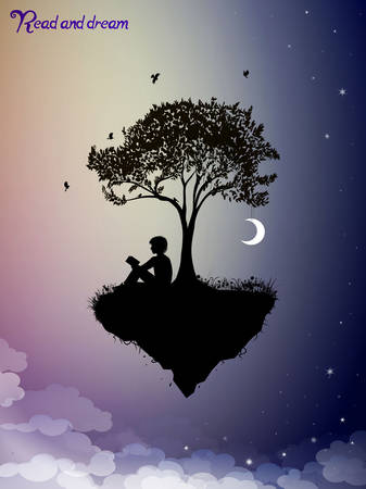 Read and dream concept, piece of childhood on the fairy sky, boy silhouette read the book under the tree and dream, vector Ilustração