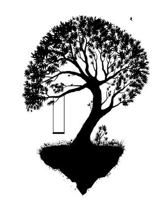 Childhood memories, piece of childhood, tree on flying rock, swing on tree, black and white, Archivio Fotografico - 149055554