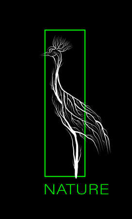 creative eco icon, save the animal idea, crane looks like tree on black background with green vivid green rectangle, eco production,