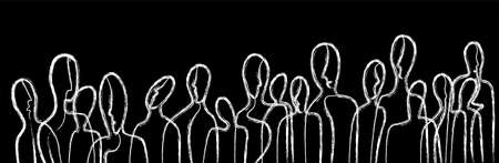 people concept, crowd of people connected in white color on black background, communication creative contemporary idea,