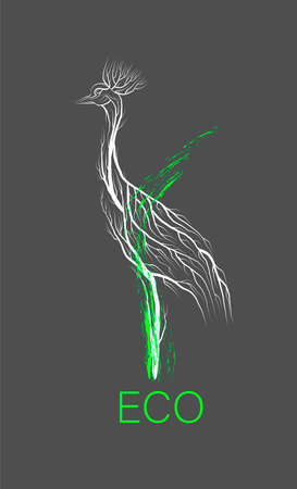 creative eco , save the animal idea, crane looks like tree on grey background, green product, eco production,