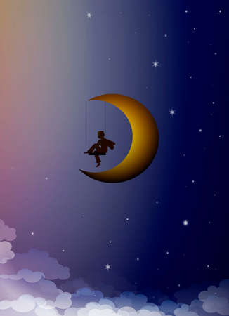 dreamer concept, boy silhouette sitting on the moon swing, your child dream creative idea, Ilustração