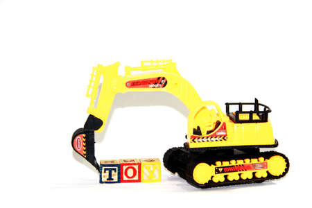 skid loader: Toy Loaders isolated on white background Stock Photo