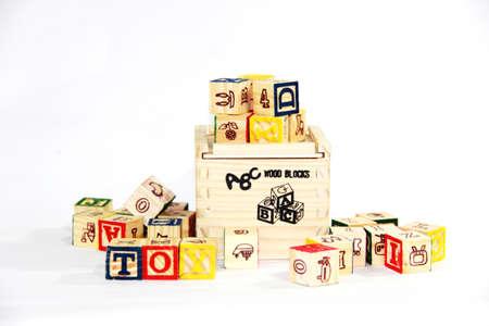 resent: alphabet  wooden blocks on white background. Stock Photo