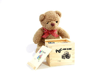 loot: Teddy Bear with wooden blocks  toy  isolated on white background