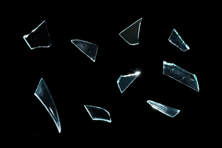 broken glass with sharp Pieces over black  photo