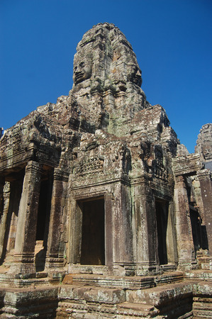 thom: Bayon Temple Angkor Thom Cambodia. Ancient Khmer architecture. Stock Photo