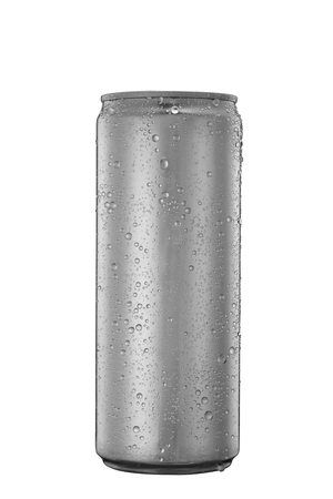 325 ml aluminum tin can with water drops isolated on white