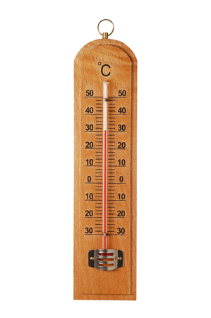 kelvin: Classic wooden thermometer on white background.