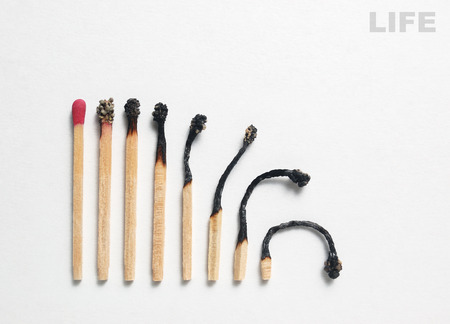changing course: Life cycle matches symbolizing human Stock Photo