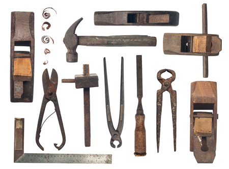woodworking: Collection of antique woodworking tools, isolated on white