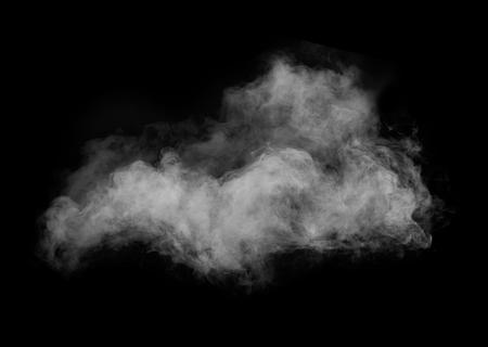 polvo: Humo blanco aislado en fondo negro Foto de archivo