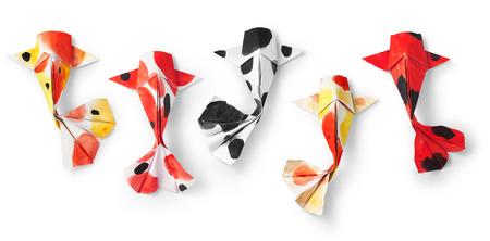 手作りのペーパー クラフト折り紙鯉鯉魚白い背景の上。