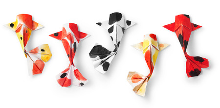 handmade paper craft origami koi carp fish on white background. Standard-Bild