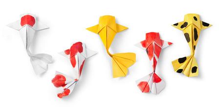 pez carpa: arte de papel origami carpa koi peces a mano sobre fondo blanco.