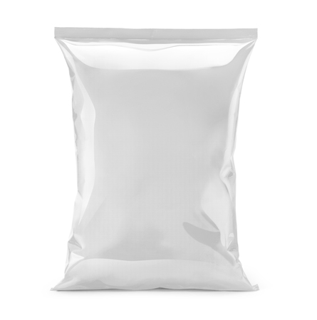 white trim: blank or white plastic bag snack packaging isolated on white Stock Photo