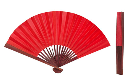 Red Chinese folding fan isolated on white background