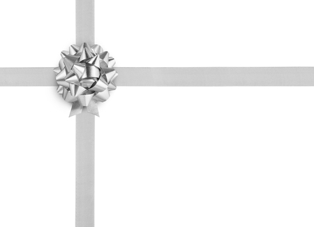 goodie: silver ribbon bow on white background