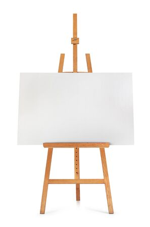 artboard: Front view of blank art board and wooden easel isolated on white background