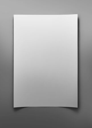 photo realism: Blank sheet of white paper on gray background with clipping path