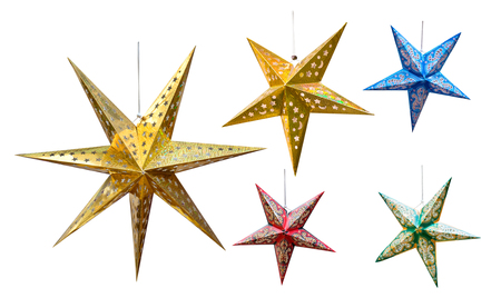 Hanging stars decoration for Hari Raya Aidilfitri isolated on white. Standard-Bild