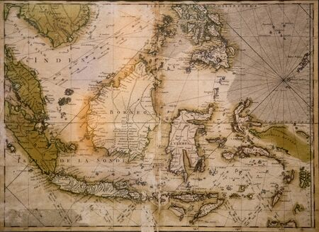 Old map of Borneo Stock Photo