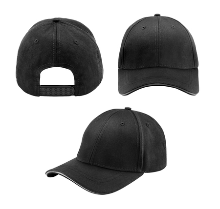 head protection: blank hat in black isolated on white background Stock Photo