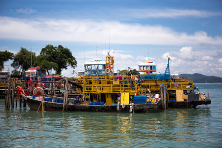 マレーシア パンコール島釣り船。 写真素材
