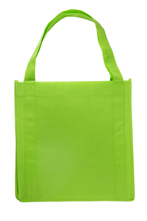 Green color fabric recycle bag isolated on white with clipping path