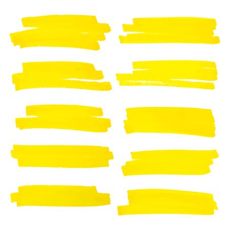 Vector highlighter brush lines. Marker pen highlight underline strokes. Yellow watercolor hand drawn highlight set. Ilustração Vetorial