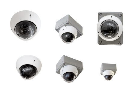 Observing ceiling camera isolated on white background with clipping path