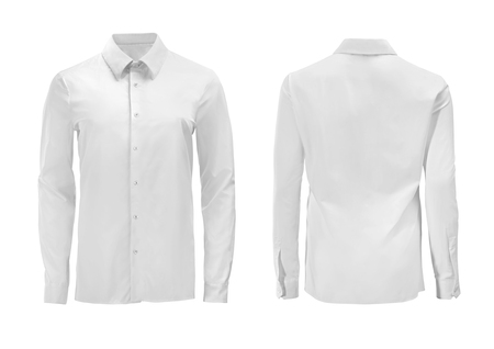 White color formal shirt with button down collar isolated on white Archivio Fotografico