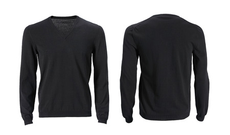 Mens long sleeve v-neck t-shirt with front and back views isolated on white